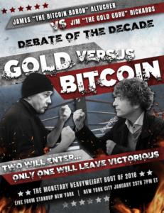 Rickards Altucher Bitcoin vs. Gold