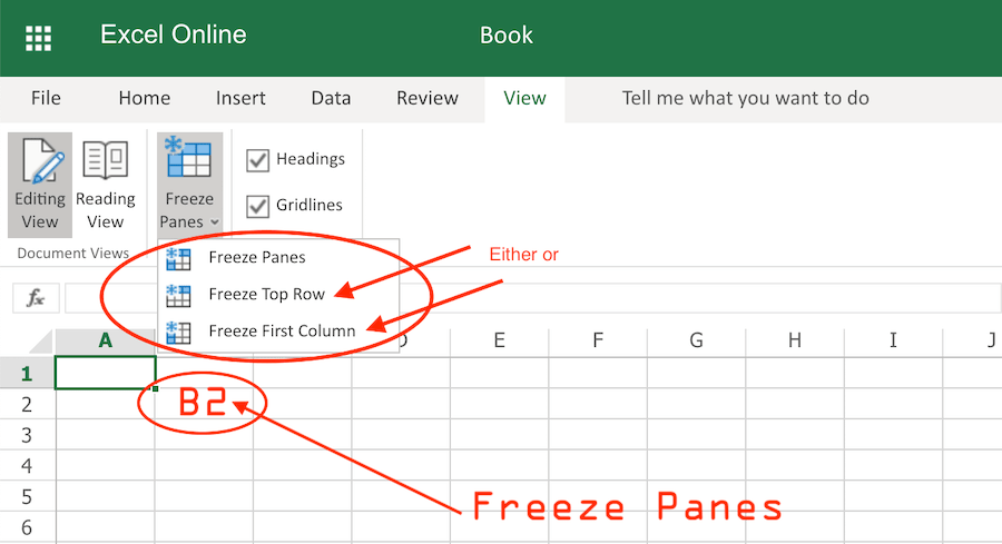 How Freeze Top Row and First Column Simultaneously in Excel